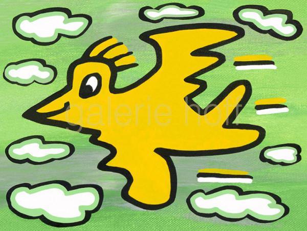 Rizzi, James - Rizzi Bird - Yellow on Green - gerahmt
