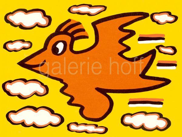 Rizzi, James - Rizzi Bird - Orange on Yellow - gerahmt